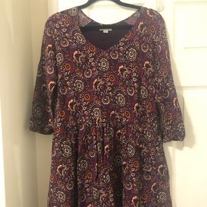 Purple Paisley Dress with Pockets
